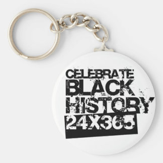 CELEBRE la HISTORIA NEGRA 24x365 Llavero Redondo Tipo Pin