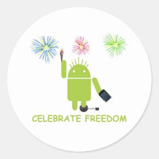 Celebre la libertad (el analista de programas pegatinas redondas