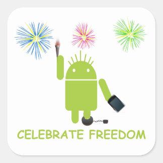 Celebre la libertad (el analista de programas calcomania cuadradas