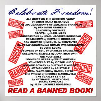 ¡Celebre la libertad!  ¡Lea un libro PROHIBIDO! (s Póster