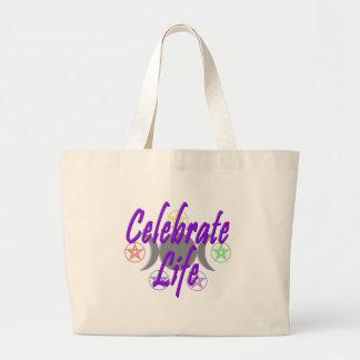 Celebre la vida bolsa tela grande