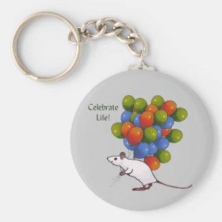 ¡Celebre la vida! Ratón con MUCHOS globos Llavero Redondo Tipo Pin