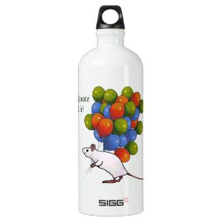 ¡Celebre la vida! Ratón lindo con muchos globos
