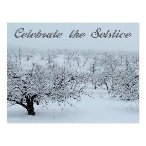 Celebre las tarjetas de la escena del invierno del tarjeta postal