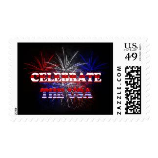 Celebre los fuegos artificiales de los E.E.U.U. Sellos