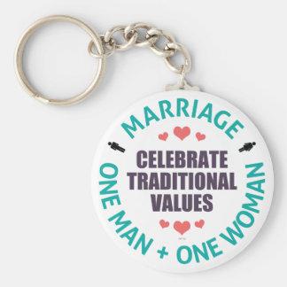 Celebre los valores tradicionales llavero
