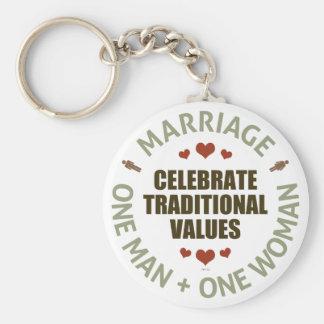 Celebre los valores tradicionales llaveros personalizados