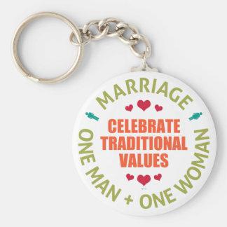 Celebre los valores tradicionales llavero redondo tipo pin