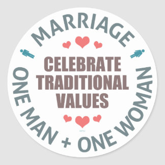 Celebre los valores tradicionales pegatina redonda