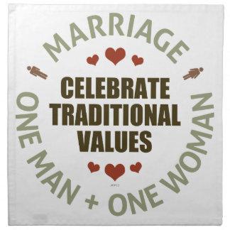 Celebre los valores tradicionales servilleta imprimida