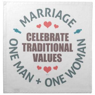 Celebre los valores tradicionales servilletas