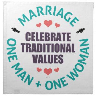 Celebre los valores tradicionales servilletas imprimidas