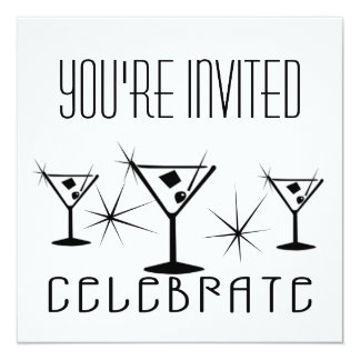 """Celebre - martinis retros - el negro y el blanco invitación 5.25"""" x 5.25"""""""