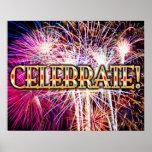 ¡Celebre! Poster de los fuegos artificiales