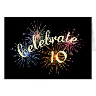 Celebre un 10mo aniversario tarjetón