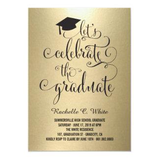 """Celebremos el fiesta graduado de la hoja invitan invitación 5"""" x 7"""""""