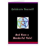 Celébrese tarjeta de Yule del Pentagram del arco i