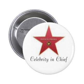 Celebridad de Obama en jefe Pin Redondo 5 Cm