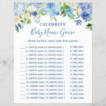 "Celebrity Baby Names Game Blue Hydrangea Floral<br><div class=""desc"">Blue Hydrangea Floral - Celebrity Baby Names Game - Baby Shower Game Flyer.</div>"