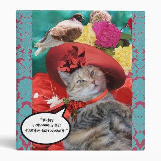 CELEBRITY CAT PRINCESS TATUS, RED HAT WITH PIGEON VINYL BINDERS