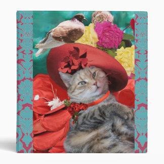 CELEBRITY CAT PRINCESS TATUS, RED HAT WITH PIGEON VINYL BINDER