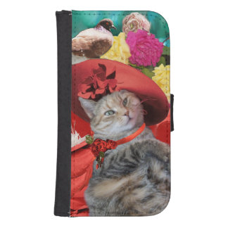 CELEBRITY CAT PRINCESS TATUS, RED HAT WITH PIGEON GALAXY S4 WALLET CASE