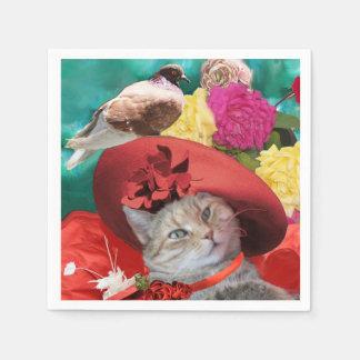 CELEBRITY CAT PRINCESS TATUS, RED HAT WITH PIGEON STANDARD COCKTAIL NAPKIN