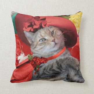 CELEBRITY CAT PRINCESS TATUS, RED HAT WITH PIGEON PILLOW