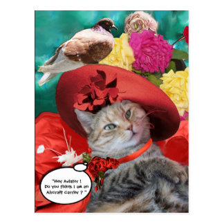 CELEBRITY CAT PRINCESS TATUS, RED HAT WITH PIGEON POSTCARD