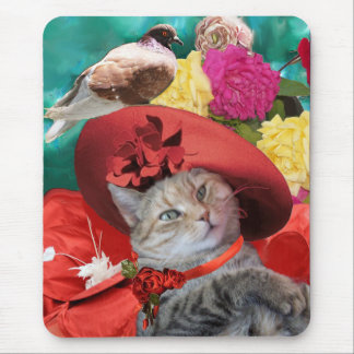 CELEBRITY CAT PRINCESS TATUS WITH RED HAT AND DOVE MOUSE PAD
