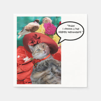 CELEBRITY CAT PRINCESS TATUS WITH RED HAT AND DOVE PAPER NAPKIN