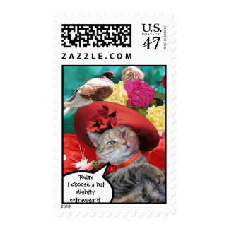 CELEBRITY CAT PRINCESS TATUS WITH RED HAT AND DOVE POSTAGE STAMP