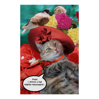 CELEBRITY CAT PRINCESS TATUS WITH RED HAT AND DOVE POSTER