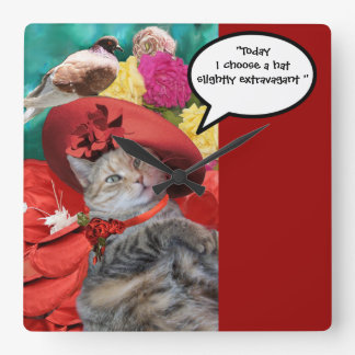 CELEBRITY CAT PRINCESS TATUS WITH RED HAT AND DOVE SQUARE WALL CLOCK