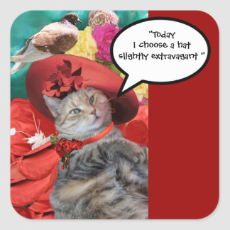CELEBRITY CAT PRINCESS TATUS WITH RED HAT ,PIGEON SQUARE STICKER