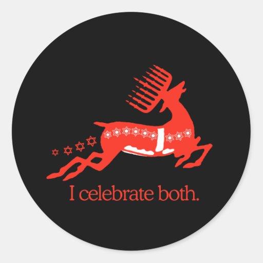 Celebro ambos - pegatina redonda