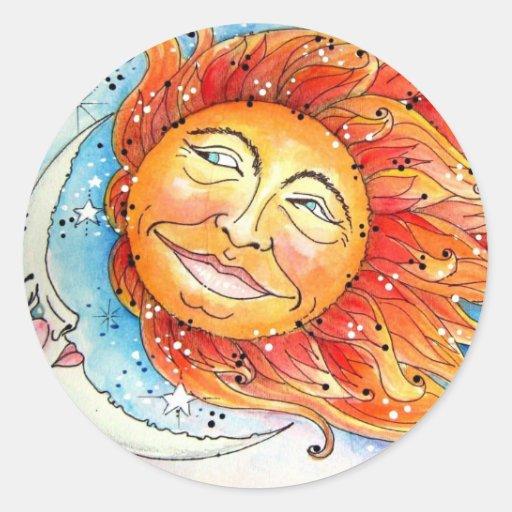 Celectial Sun & Moon.jpg Classic Round Sticker