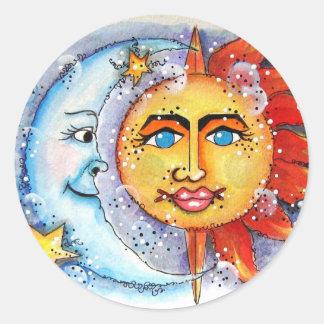Celectial Sun y Moon.jpg Pegatina Redonda
