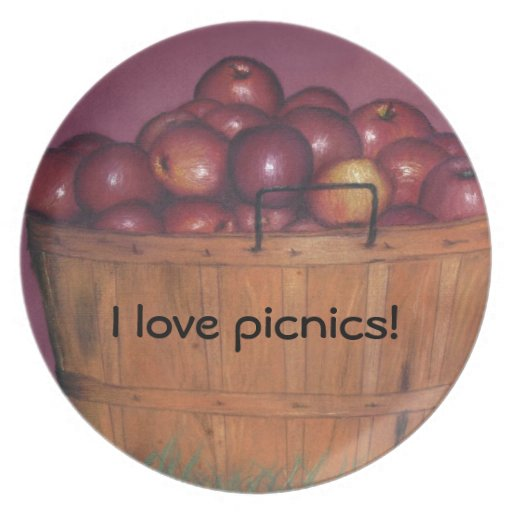 Celemín de placa de las manzanas plato de comida