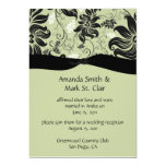 Celery Green and Black Floral Swirls Post Wedding Announcement