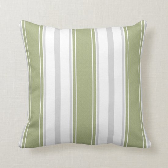 Celery Green and Pale Gray White Stripes Pattern | Throw Pillow