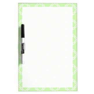Celery Green and White Fancy Quatrefoil Pattern Dry-Erase Whiteboard