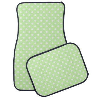 Celery Green and White Polka Dot Pattern Car Mat