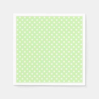 Celery Green and White Polka Dot Pattern Napkin