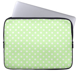Celery Green and White Polka Dots Pattern Laptop Sleeve