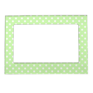 Celery Green and White Polka Dots Pattern Magnetic Photo Frame
