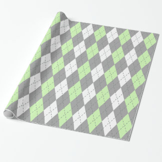 Celery Green Charcoal Dk Gray Wht XL Argyle Wrapping Paper
