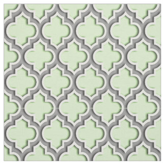 Celery Green, Dark Gray Moroccan Quatrefoil #5DS Fabric