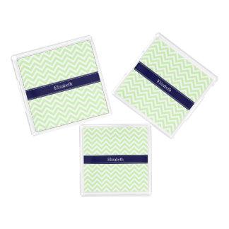 Celery Green LG Chevron Navy Blue Name Monogram Acrylic Tray