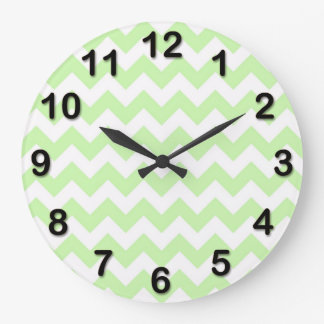 Celery Green, White Chevron ZigZag Pattern Large Clock